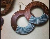 18 DEGREES-Coconut Wood Hoops, Textile, Fiber,Tribal, Beach Jewelry, Natural Earrings, Ethnic Hoops, Big Earrings