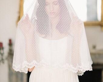 Swiss dot circle drop veil, lace trim veil, bridal veil, polka dot veil, wedding veil, drop veil - FREE SHIPPING*