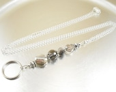 Leather Cord OR Chain Lanyard - Smoky Crystal Glass and Silver ID Lanyard, Badge Holder, Key Chain Necklace