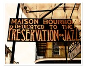 New Orleans Photography, Jazz, French Quarter, golden orange black wall art, gift for him, Rustic sign photo, Maison Bourbon, Fine Art Print