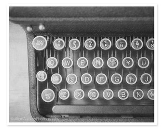 Black and White Photography, Vintage Typewriter, Old Dark Rustic Antique, Library Art, Still Life Photograph, Modern Wall Art, Gray Neutral