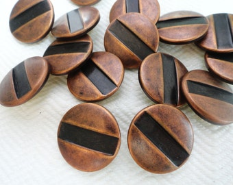 Metal Vintage Buttons - 6 Copper Toned  with Gorgeous Patina