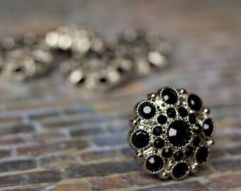 5 Black Rhinestone Buttons - Acrylic Rhinestone Buttons - Wholesale Rhinestone Buttons - Special Button - 28mm - Plastic Buttons
