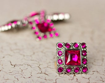 Square Rhinestone Buttons -  5  Fuchsia Buttons - Logan Button - 28mm - Plastic Buttons - Acrylic Buttons