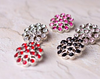 5 Rhinestone Buttons - Several Colors Available - Abreonn Button - 25mm - Plastic Buttons - Acrylic Buttons