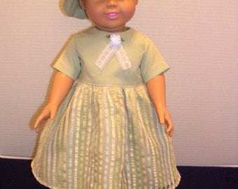 American Girl doll sage green cotton dress and matching bucket hat