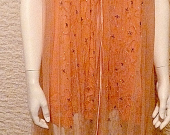 Ankle Length Orange Satin Trimmed Silver Beaded Tulle Dress with Orange Laced Half Slip