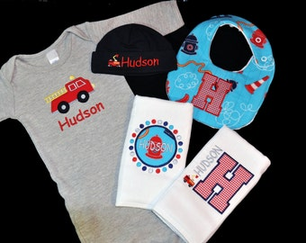 Personalized Baby Firetruck Gift Set / Gown, Cap, 2 Burpcloths and Bib