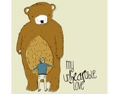 Illustration Unbearable Love - grizzly bear - Original Giclee Fine Art Print for bedroom 8.2 x 8.2 inches