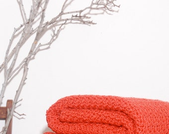 Ready to Ship  Beautiful and Luxuriously Handcrafted CROCHET Blanket Throw CORAL