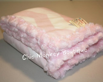 Pink and White Chevron Minky Blanket with Pink Minky Swirl Backing and Edging...Last Minute Gift Idea