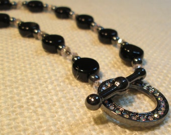 Jet Black Glass Coins, Hematite and Crystal Necklace with Rhinestone Toggle