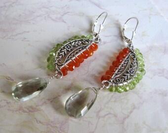 Green Amethyst Earrings- Carnelian, Peridot, Wire Wrapped, Silver
