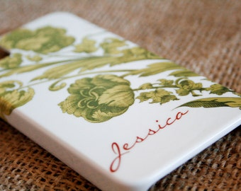 Personalized iPhone Case, Floral, Green and Orange Flowers iPhone 6 Case, iPhone 5S, iPhone 5C Case iPhone 6 Plus Case