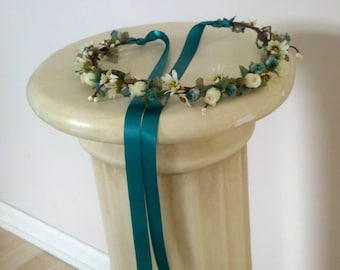 Teal Woodland wedding accessories bridal floral crown brides maids headpiece by Michele at AmoreBride original hair wreath flower girl halo