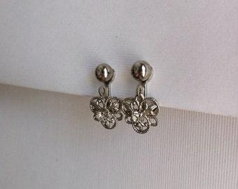Vintage Silver Tone Dangle Rhinestone Earrings Screw On Fleur De Lis