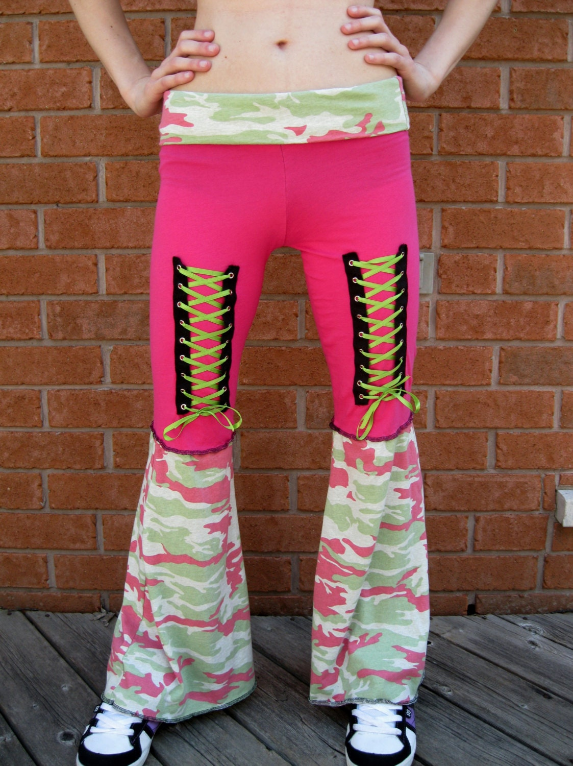 Pink And Green Camo Corset Pants Diy Womens Upcycled Ooak