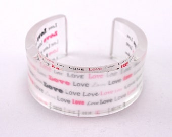 Love Bangle, girlfriend Christmas gift, Frosted Winter Finish