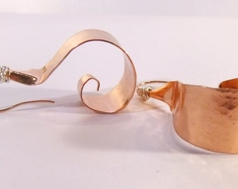 Copper Elf Toe Swirl Earrings with Sterling Wire-wrap-Raw Elegance Collection