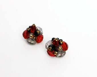 1950s Red, Black & Clear Crystal Beaded Clip on Earrings