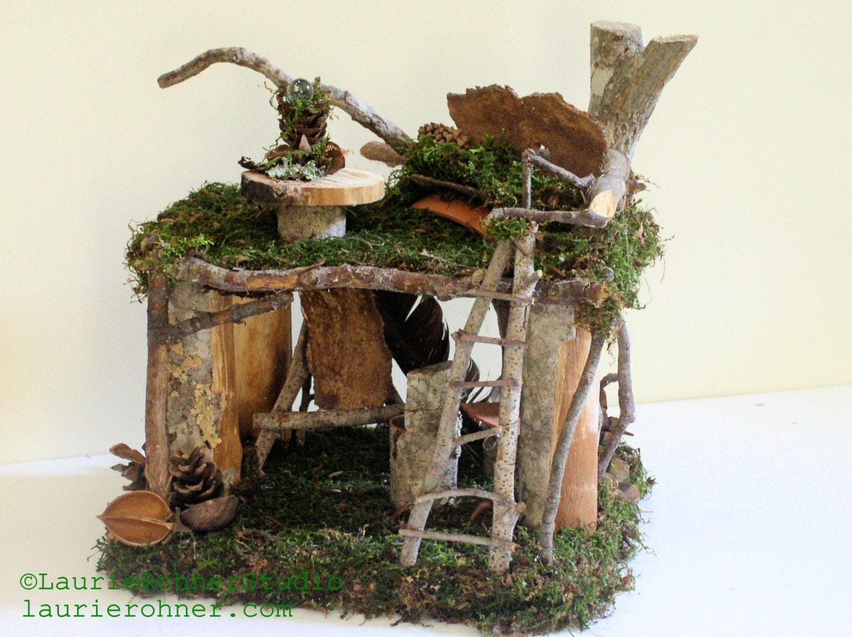 Wonderful Woodland Fairy House Artist Loft With Custom Fairy Furniture