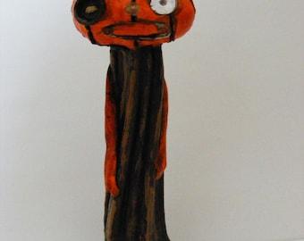 Primitive Folk Art Pumpkin Stem Halloween Art Doll OOAK