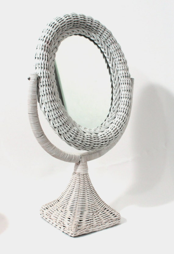 Vintage White Wicker Stand Up Vanity Mirror By Pinkdandyshop