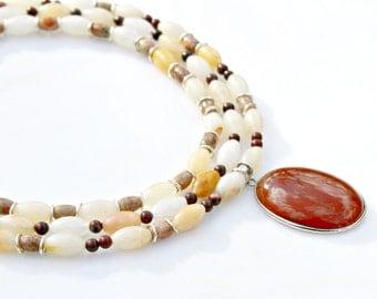Triple Strand Necklace, STATEMENT Necklace, Pendant Necklace, Jasper Necklace, Gemstone Necklace, Red Carnelian Pendant by Mei Faith