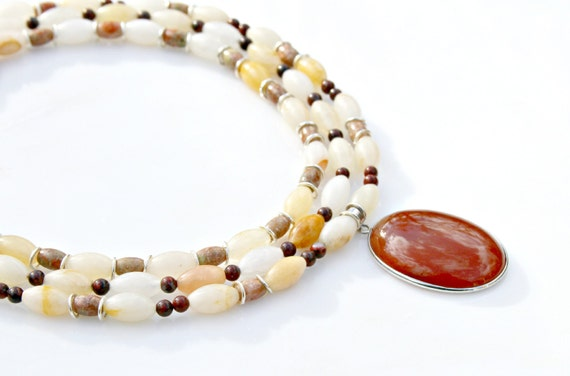 Triple Strand Necklace, STATEMENT Necklace, Pendant Necklace, Jasper Necklace, Gemstone Necklace, Red Carnelian Pendant by Mei Faith