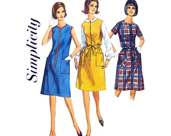 1960s Day Dress or Jumper Pattern Simplicity 6095 Zipper Front Dress Patch Pockets Womens Sewing Pattern Bust 35 or 42 Plus Size