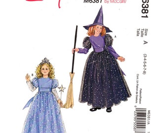 Girls Costume Pattern Princess & Witch McCalls 6381 Dress and Hat Size 3 to 8 UNCUT
