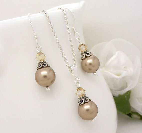 Champagne Bridesmaid Jewelry Set, Sterling silver, Champagne pearl wedding jewelry, Vintage style Light brown Necklace Earrings