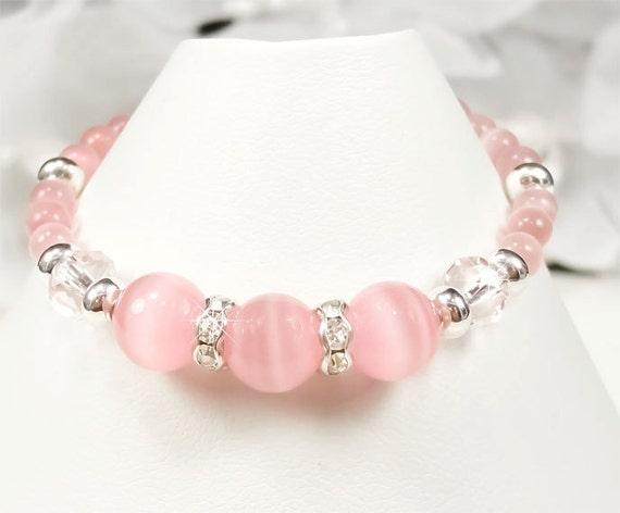 Flower Girl Bracelet, Pink and Swarovski Crystal Flower Girl Bracelet, Pink Flower Girl Bracelet Children Jewelry (WFG0028)