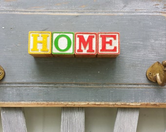 Recycled Wall Hook HOME hearts childrens alphabet blocks red yellow gray salvaged wood