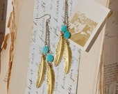 Gold & Turquoise FEATHER  EARRINGS Woodland Nature Bird Autumn Bohemian Rustic