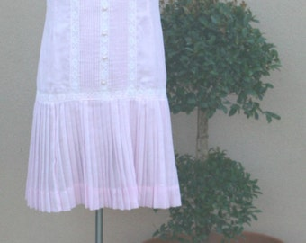 1960's Casual Dress - Sleeveless Delicate Pink Drop Waist Dress - A 'n R Jr. Dress - Sweet Cute Girly Dress - Pintucked - 36 Bust