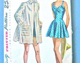 1940s OnePiece Bathing Suit UNCUT and Jacket is CUT Vintage Sewing Pattern Simplicity 2441 Bust 34 inches