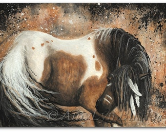 Majestic Horses - Abstract Native American Curly Pinto - Fine ArT Prints by AmyLyn Bihrle mm74