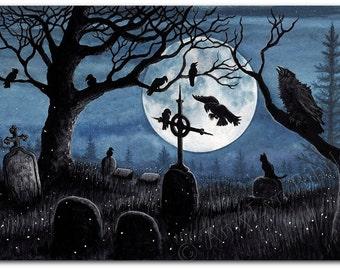 Black Cat Society - Watchful Eye Cemetery Raven - ArT Prints by BiHrLe bcs43
