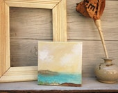 Nautical Acrylic Painting Seascape Golden Sky Original Art Canvas  - The Coast at Dawn.