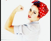 Betty Bandana in Rosie Riveter Red Polka Dot Print.....New Size and Style