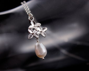 Bridal Jewelry  Cherry Blossom Flower and Pearl Silver Wedding Necklace Lizzie