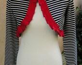 Women's Upcycled Small Bolero Sweater- Black Stripe