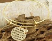 Hand Stamped Bangle Bracelet, Mother/Daughter Bracelet - Gold Bangle Charm Bracelet - Name Bracelet
