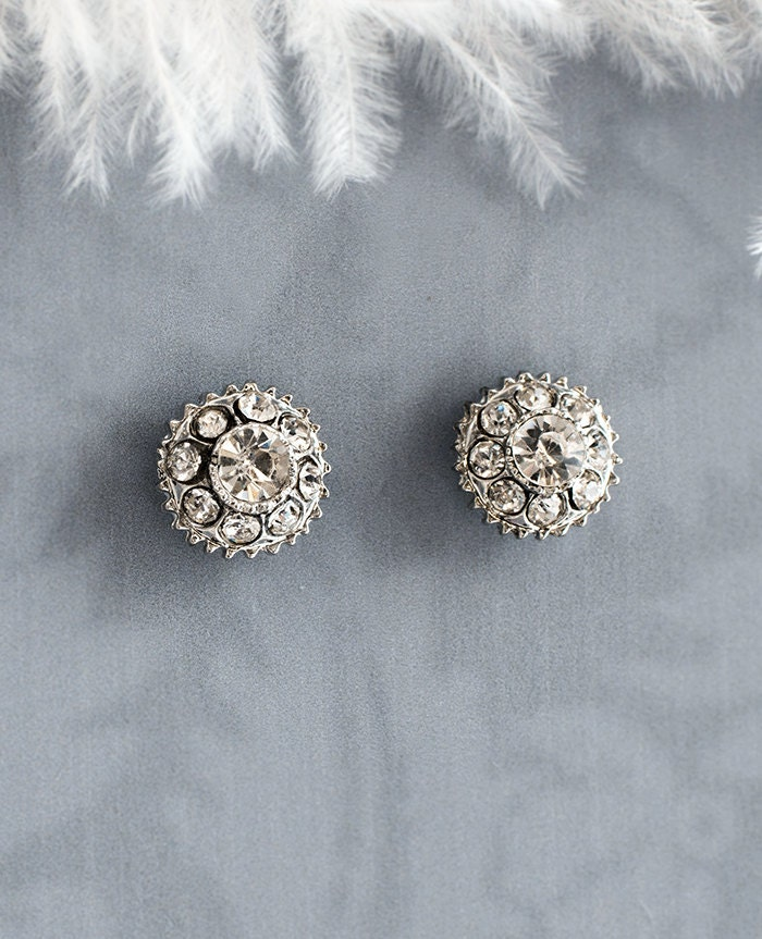vintage style button earrings bridal stud earrings wedding