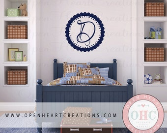 Initial Monogram Wall Decal with Polka Dot and Scallop Circle Border Frame 28 inch Circle FN0178