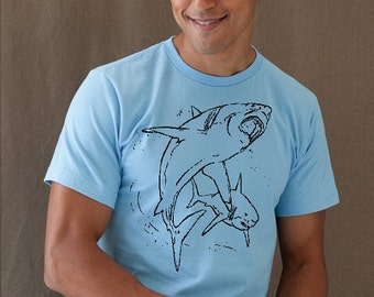 Sale - Size Small - Sharks Mens tshirt light blue short sleeve shirt Guy Tee size Shirt shark week great white attack bull