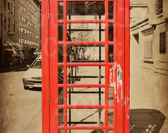 Digital Fine Art Print - 4x6 | 5x7 | 8x10 | 10x13 | 11x14 - London in Red - Telephone Box - Black and White Print with a pop of color