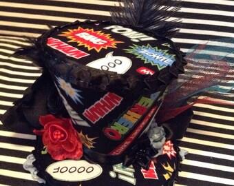 Black Super Hero Mini Top Hat Fascinator