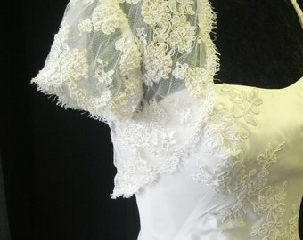 Short Sleeve Beaded Lace Wedding Bolero